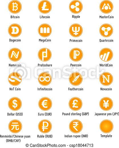 cryptocurrency, vecteur, icônes - csp18044713