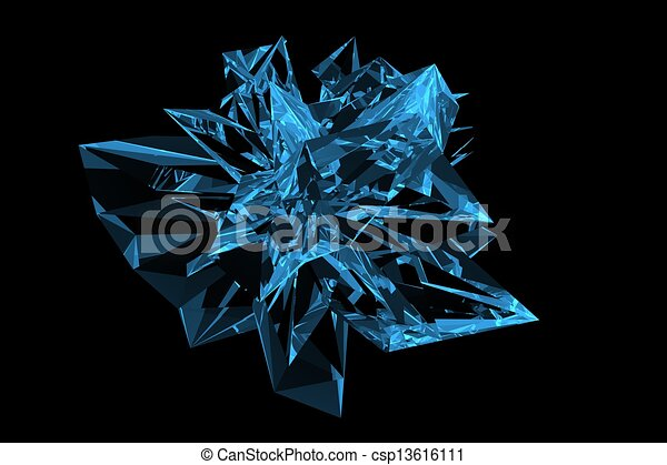Crystal 3D rendered xray blue transparent - csp13616111