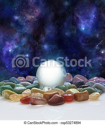 Crystal ball, healing crystals and the Universe - csp53274894