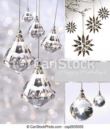 Crystal Christmas Ornaments.Crystal Christmas Ornaments Against Silver