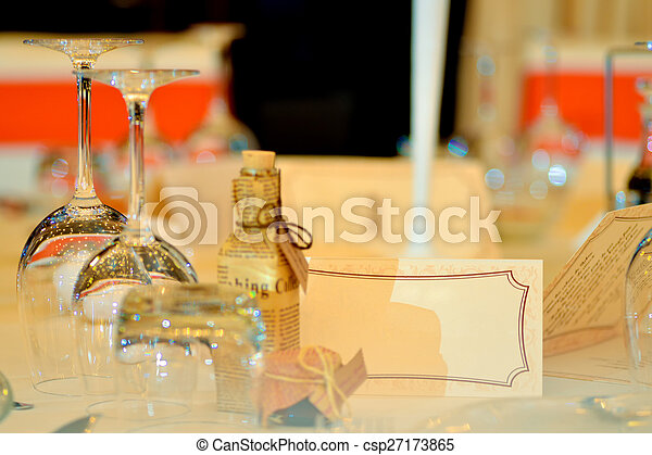 Crystal glasses on the table - csp27173865