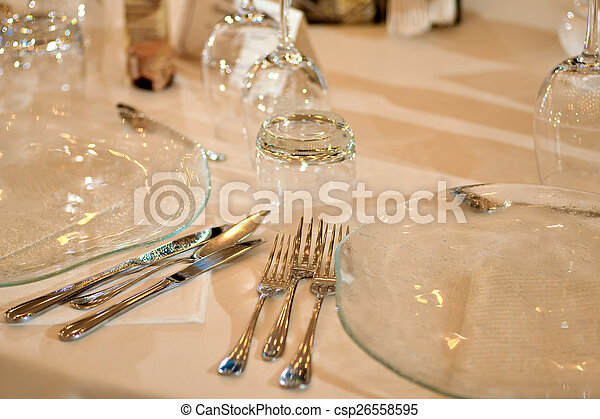 Crystal glasses on the table - csp26558595