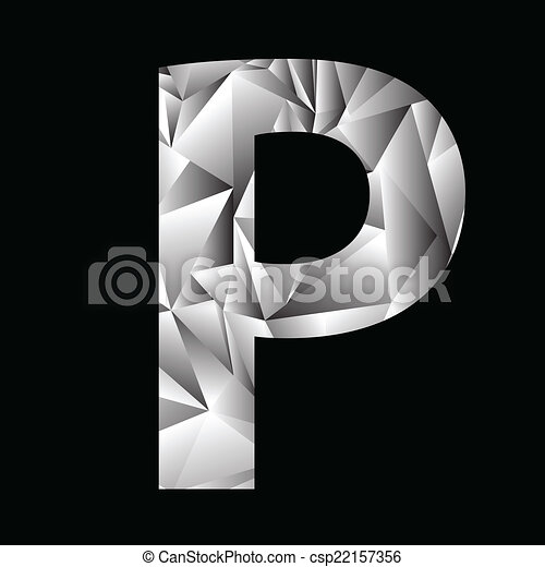Illustration With Crystal Letter P On A Black Background