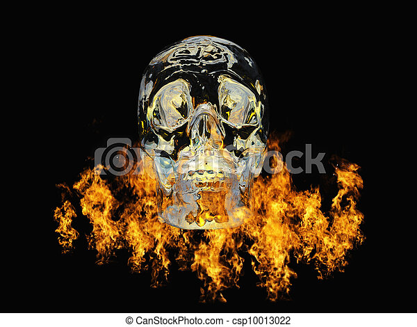 Crystal skull surrounded by fire - csp10013022