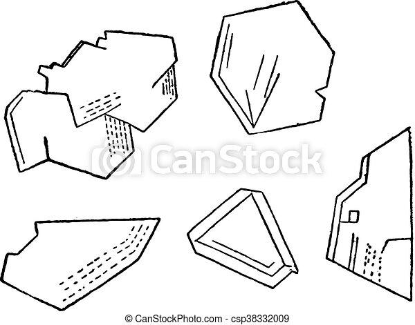 Crystals Carborundum Vintage Engraving Crystals Carborundum