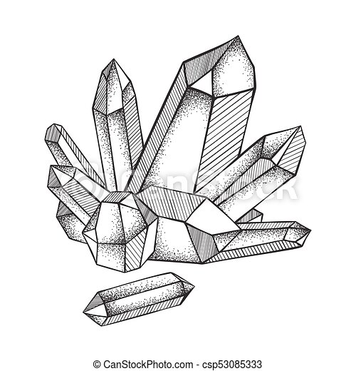 0b16427461708 Crystals druse hand drawn line art and dot work. Crystals druse ...