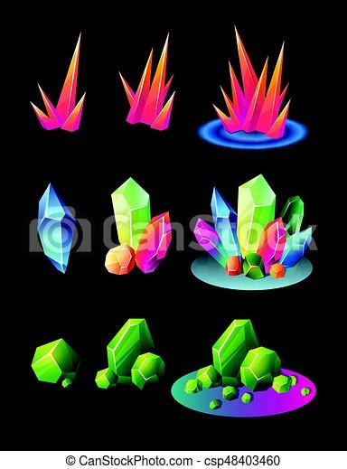 Crystals - realistic vector set of minerals - csp48403460