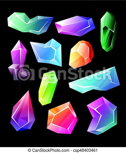 Crystals - realistic vector set of minerals - csp48403461