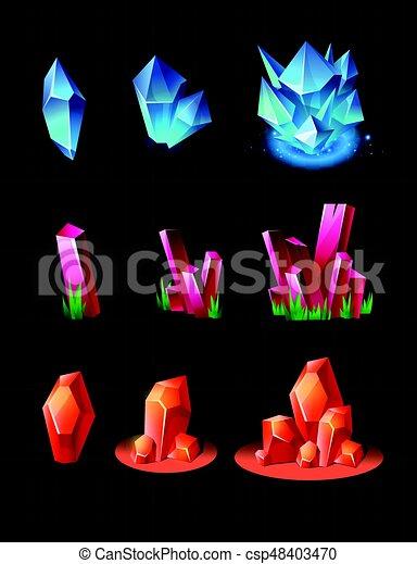 Crystals - realistic vector set of minerals - csp48403470
