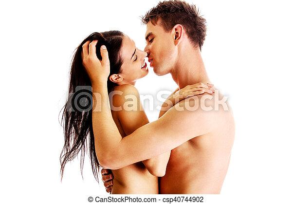 csókolózás, meztelen, párosít, feláll sűrű - csp40744902