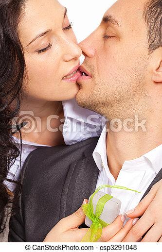 csókolózás, párosít, fiatal - csp3291048