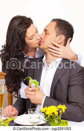 csókolózás, párosít, fiatal - csp3291053