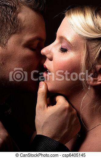 csókolózás, párosít, fiatal - csp6405145