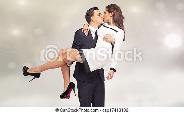 csókolózás, párosít, póz, fiatal, bájos - csp17413102