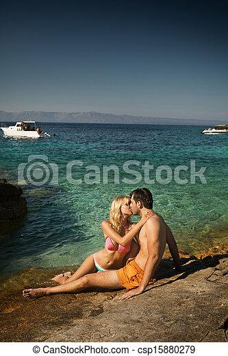 csókolózás, párosít, tengerpart, bájos - csp15880279