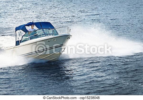 csónakázás, tó, ember - csp15238048