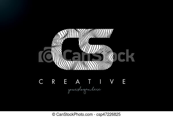 Drawing Lines With Photo Cs : Cs c s letter logo with zebra lines texture design vector