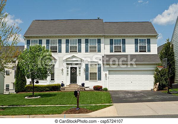 család, épület, külvárosi, egyedülálló, mellékvágány, maryland, belétek, vinyl, elülső, otthon - csp5724107