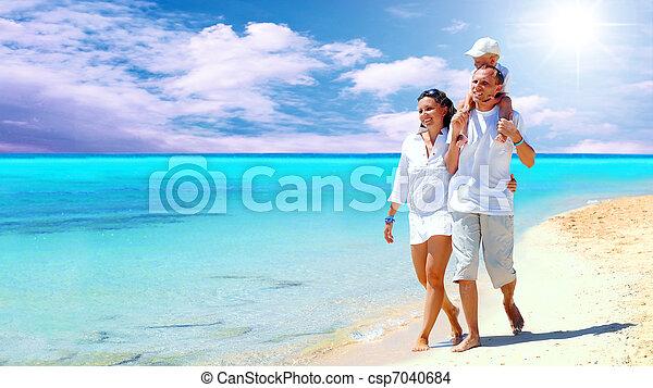 család, fiatal, móka, boldog, tengerpart, birtoklás, kilátás - csp7040684