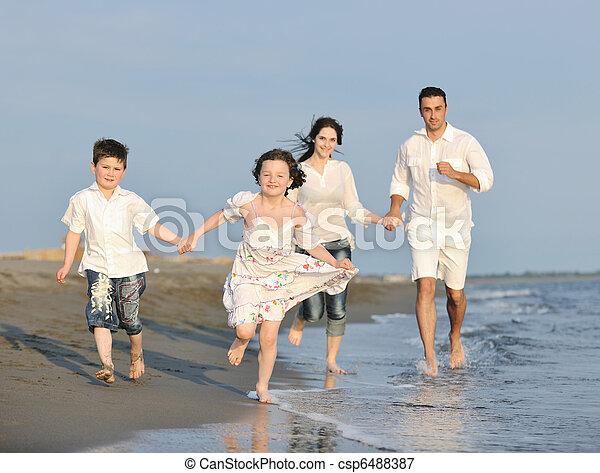 család, fiatal, napnyugta, szórakozik, tengerpart, boldog - csp6488387