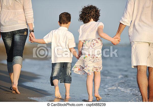 család, fiatal, napnyugta, szórakozik, tengerpart, boldog - csp6488239