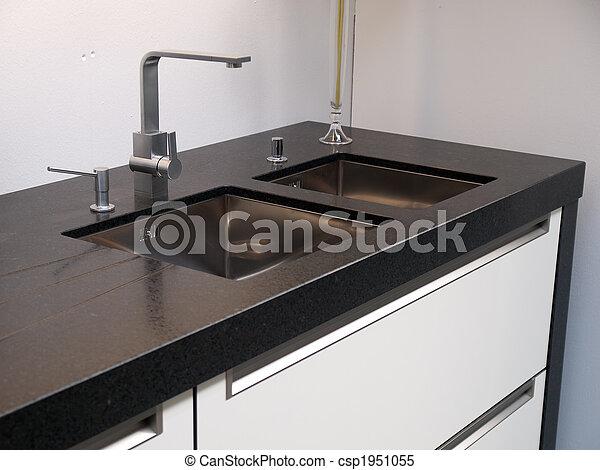 Csap, csap, modern, részletek, konyha mosogató. Csap, csap ...