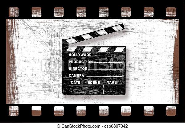 csattogó, film, director's, koszos, grungy, bizottság - csp0807042