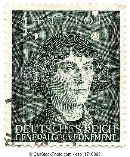csehország, copernicus, öreg, 3, year;, bélyeg, 1943, germany;, -, reich;, collectible, moravya, nicolaus, protectorate - csp11710895