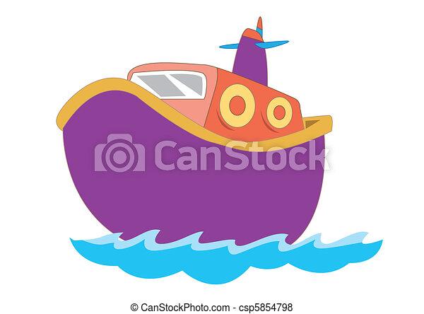 csinos, csónakázik, vektor, gyerekek, ábra - csp5854798