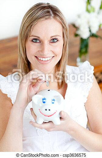 csinos, nő, takarékbetét pénz - csp3636575