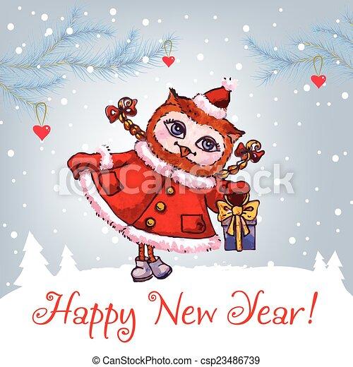 csinos, tél, bagoly, watercolor., köszönés, vektor, év, új, kalap, kártya, boldog - csp23486739