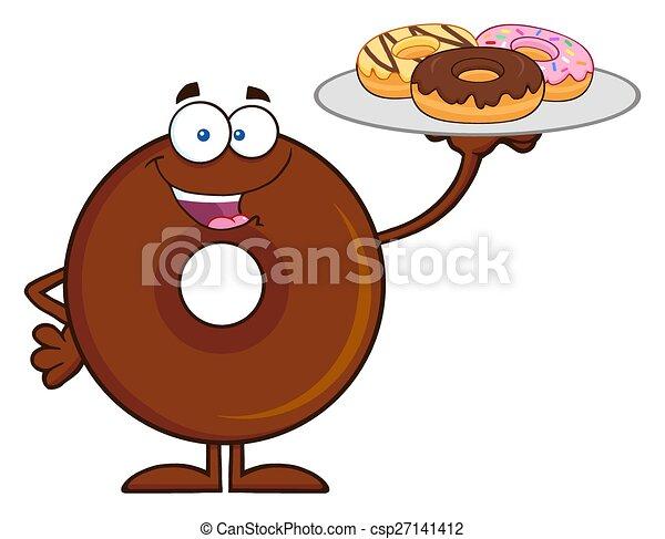 csokoládé, karikatúra, betű, fánk - csp27141412