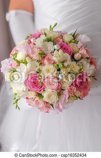 csokor, closeup, esküvő - csp16352434