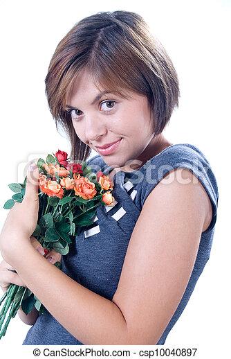 csokor, nő, enjoyng, fiatal - csp10040897