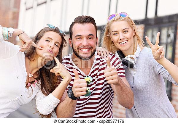 csoport, barátok, boldog - csp28377176