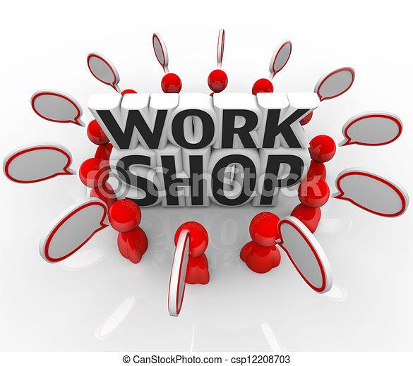 csoport, emberek, gondolat, beszéd, műhely, fejteget - csp12208703