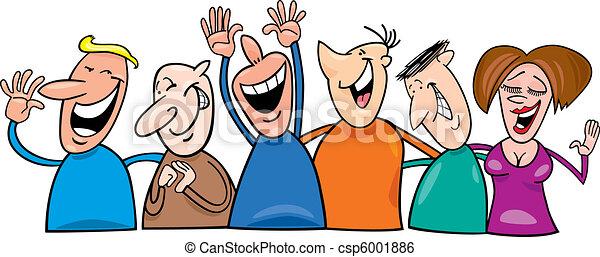 csoport, nevető, emberek - csp6001886