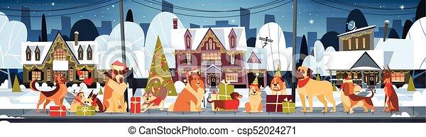 csoport, poszter, kalapok, szabadban, kutyák, díszes, épület, házasodik, szent, év, új, horizontális, karácsony, boldog - csp52024271