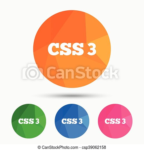 CSS3 sign icon  Cascading Style Sheets symbol