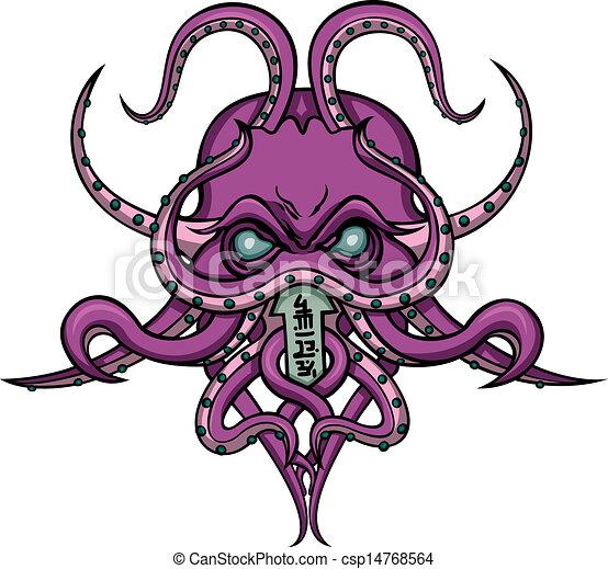 Cthulhu horror emblem - csp14768564