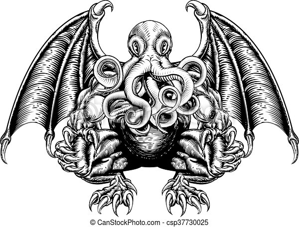 Line Drawing Monster : An original illustration of a cthulhu monster in woodblock
