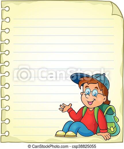 La página de notas con el colegial - csp38825055