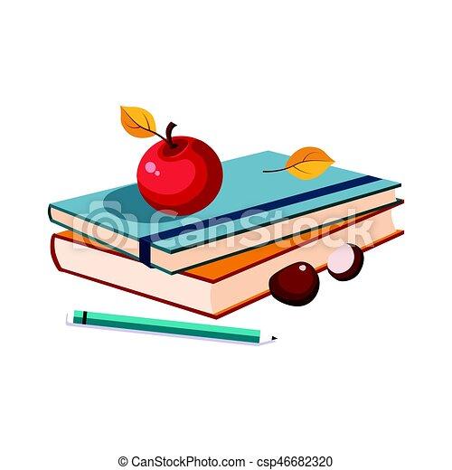 Libros de notas, manzana y lápiz, conjunto de escuela y objetos relacionados con la educación en colorido estilo dibujos animados - csp46682320