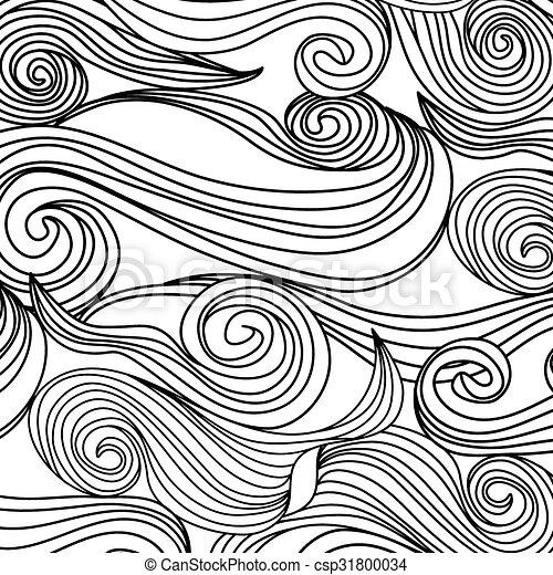 Patrón abstracto con ondas. Una página de colorear para adultos. Alegría para niños mayores y coloristas adultos, que les gusta el arte de la línea y la creación. Ilustración vectorial - csp31800034