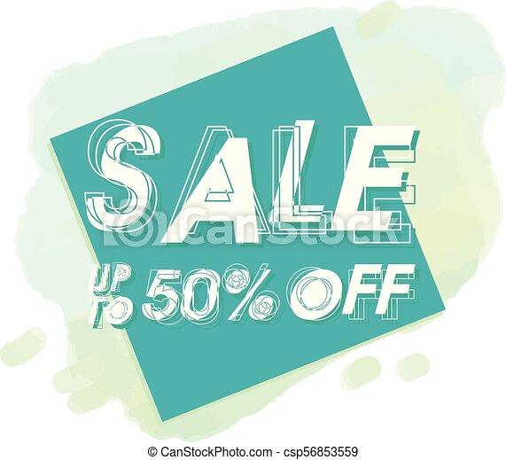 Vende hasta 50% de descuento en imagen de vector cuadrado azul - csp56853559