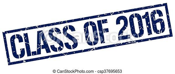 Clase de 2016 sello de goma azul grunge cuadrada - csp37695653
