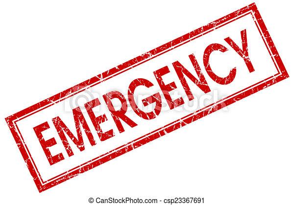 cuadrado, emergencia, estampilla, aislado, plano de fondo, rojo blanco - csp23367691