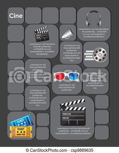 Marca cuadrada con iconos de película - csp9889635