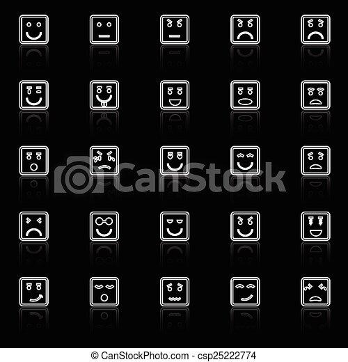 Los iconos de la línea cuadrada reflejan el fondo negro - csp25222774