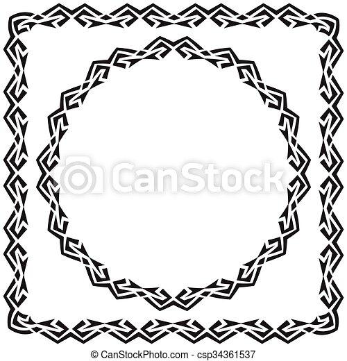 Cuadrado, illustration., set., redondo, vector, adornado ...